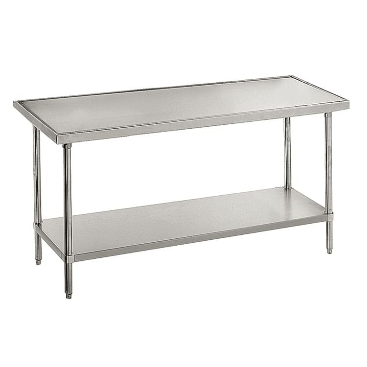 "Advance Tabco VLG-3611 132"" 14 ga Work Table w/ Undershelf & 304 Series Stainless Marine Top"
