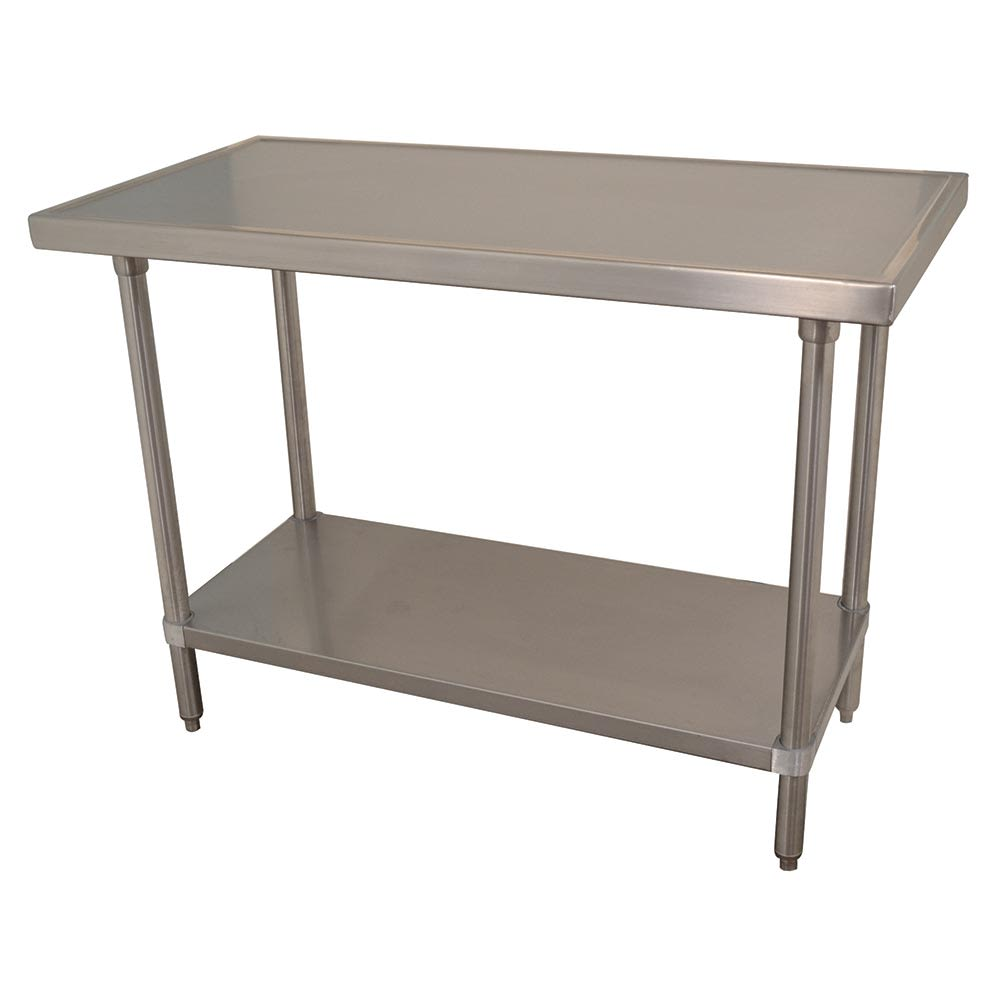 "Advance Tabco VSS-368 96"" 14 ga Work Table w/ Undershelf & 304 Series Stainless Marine Top"