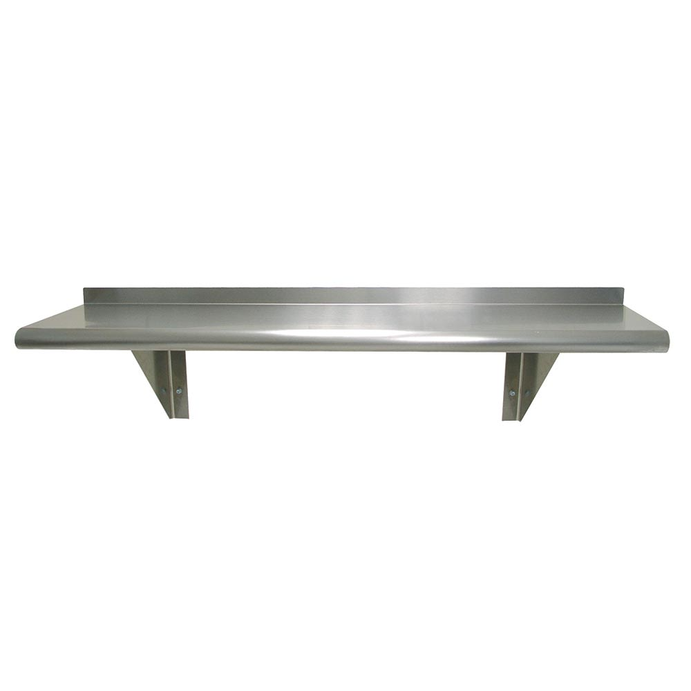 "Advance Tabco WS-12-96 Solid Wall Mounted Shelf, 96""W x 12""D, Stainless"