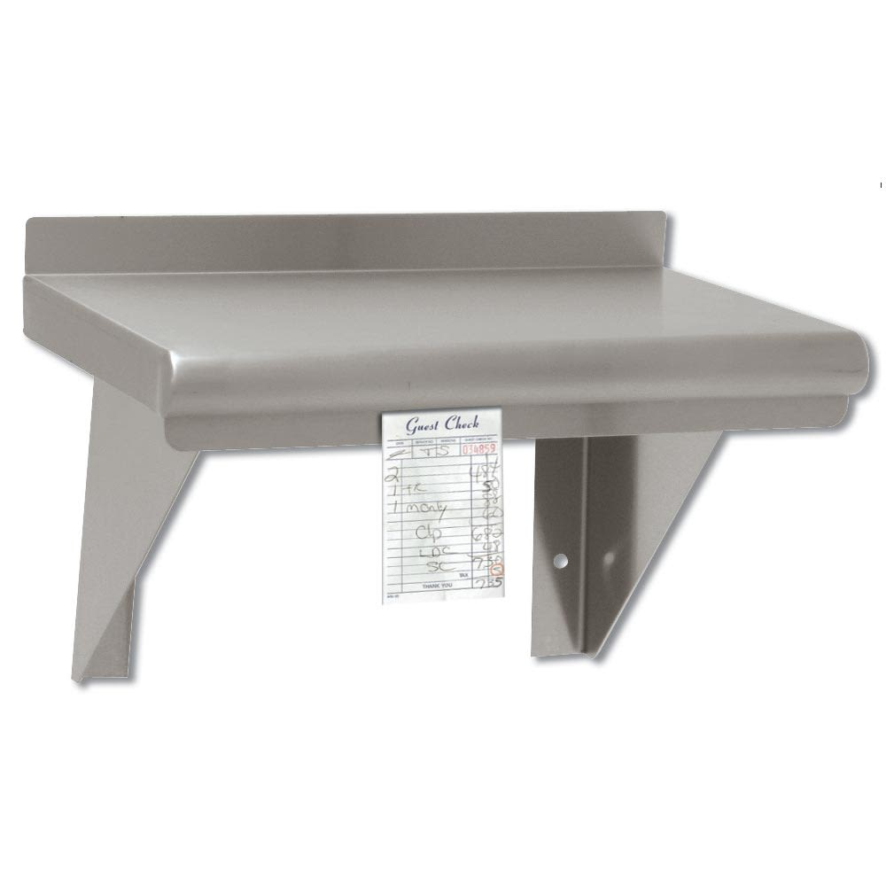 "Advance Tabco WS-12-96CM Solid Wall Mounted Shelf, 96""W x 12""D, Stainless"