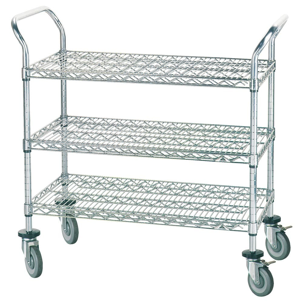 Advance Tabco WUC-1842R 3-Level Chrome Plated Utility Cart w/ 800-lb Capacity, Flat Ledges
