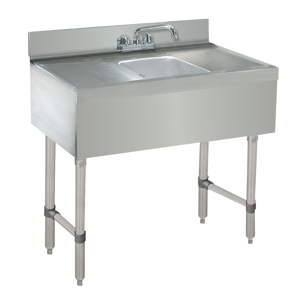 "Advance Tabco CRB-31C-X 24"" Underbar Work Board 1-Sink Compartment Unit w/ Deck Mounted Faucet"