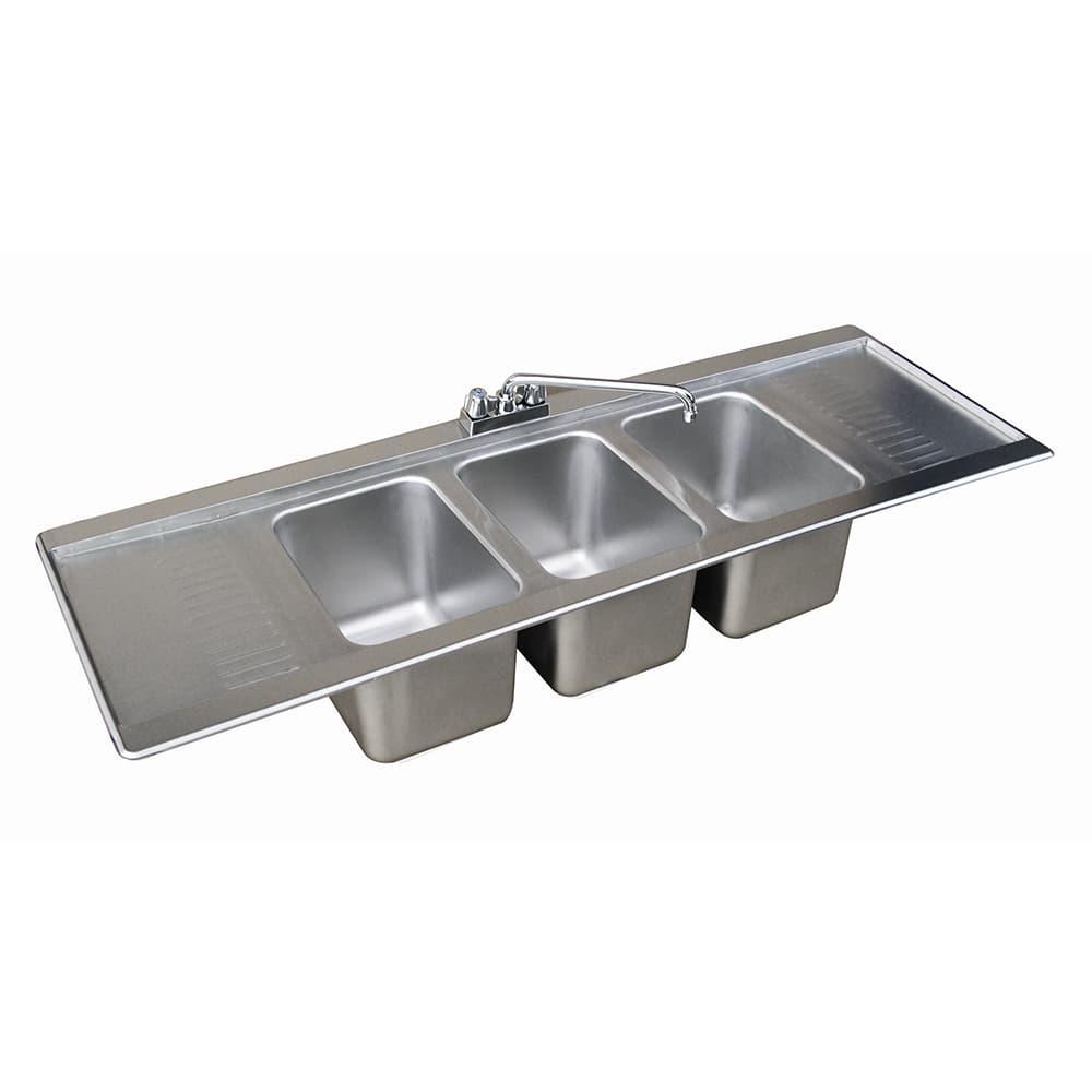"""Advance Tabco DBS-63C 72"""" 2 Compartment Sink w/ 10""""L x 14""""W Bowl, 10"""" Deep"""