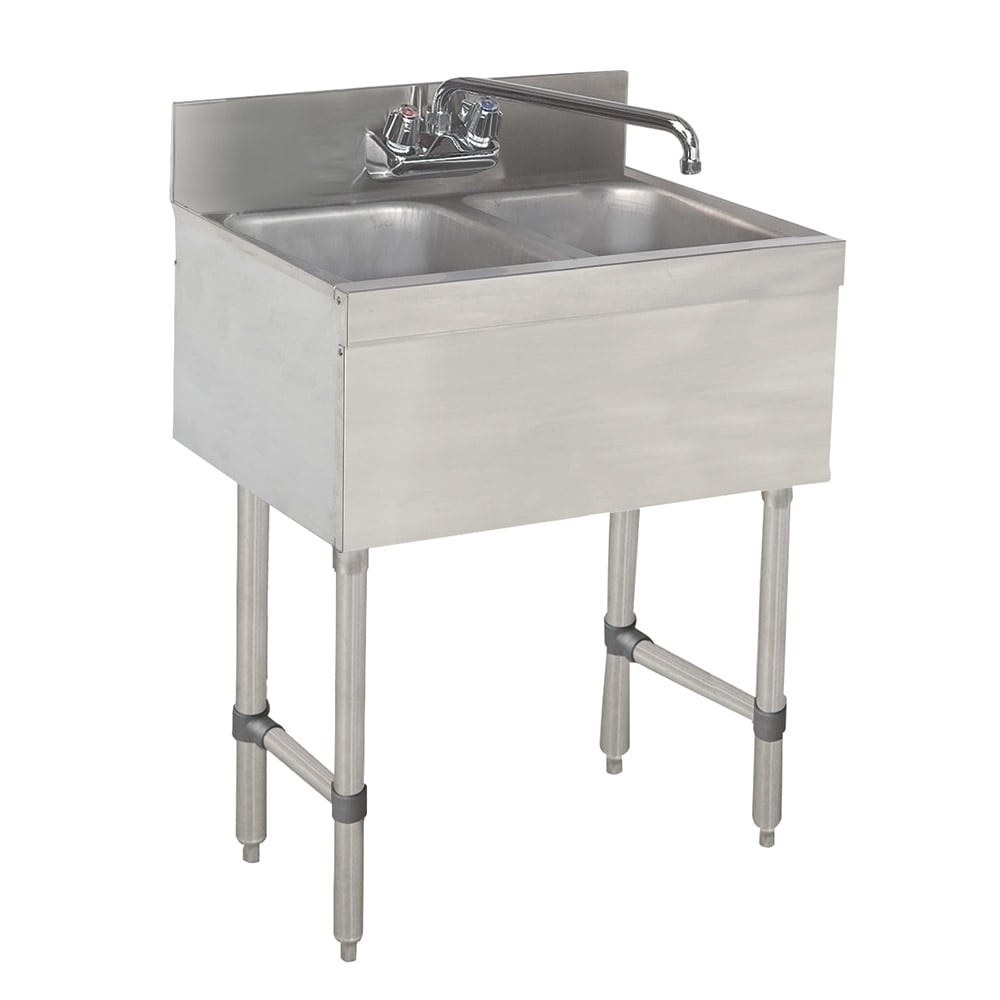 "Advance Tabco SLB-22C-X 24"" 2-Compartment Sink w/ 10""L x 14""W Bowl, 10"" Deep"