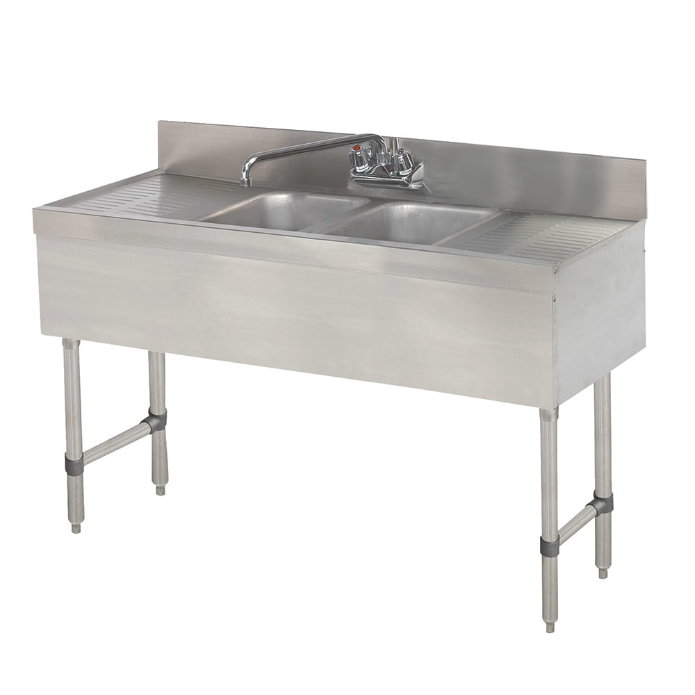 Advance Tabco SLB42C 2-Compartment Underbar Work Board Sink w/ 2-Drainboards, Faucet