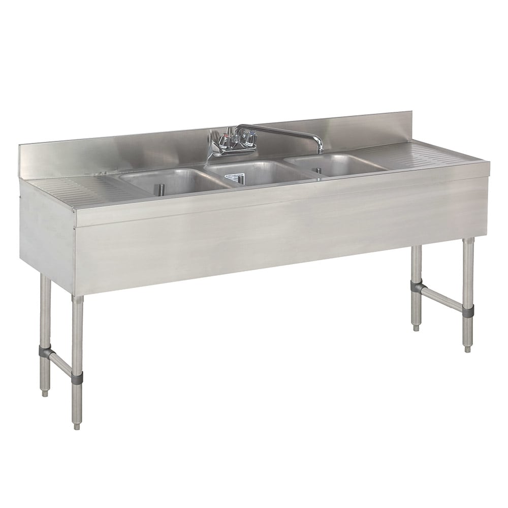 "Advance Tabco SLB-53C 60"" 3 Compartment Sink w/ 10""L x 14""W Bowl, 10"" Deep"