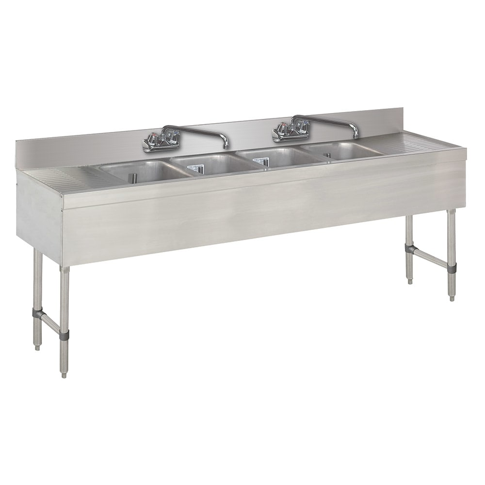 "Advance Tabco SLB-84C 96"" 4 Compartment Sink w/ 10""L x 14""W Bowl, 10"" Deep"