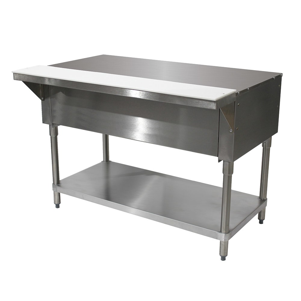 """Advance Tabco STU-5 Solid Top Table, Open Base w/ Undershelf, 77 9/12"""", Stainless"""