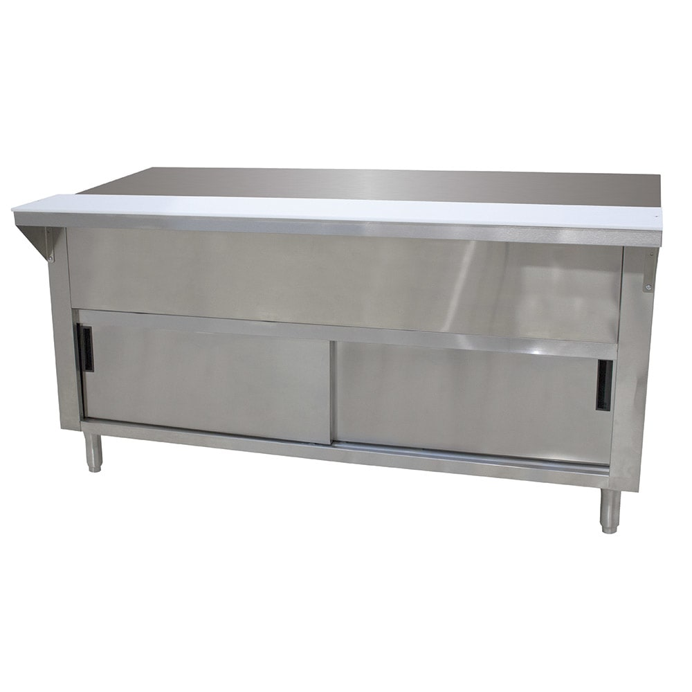 "Advance Tabco STU-5-DR Solid Top Table, Cabinet Base w/ Sliding Doors, 77 9/12"", Stainless"