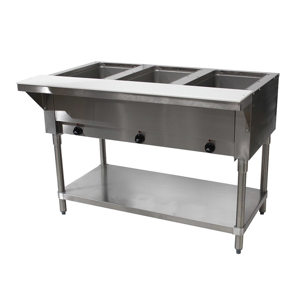 Advance Tabco SW-3E-120 Hot Food Table w/ 3 Wells, Infinite Control, Stainless