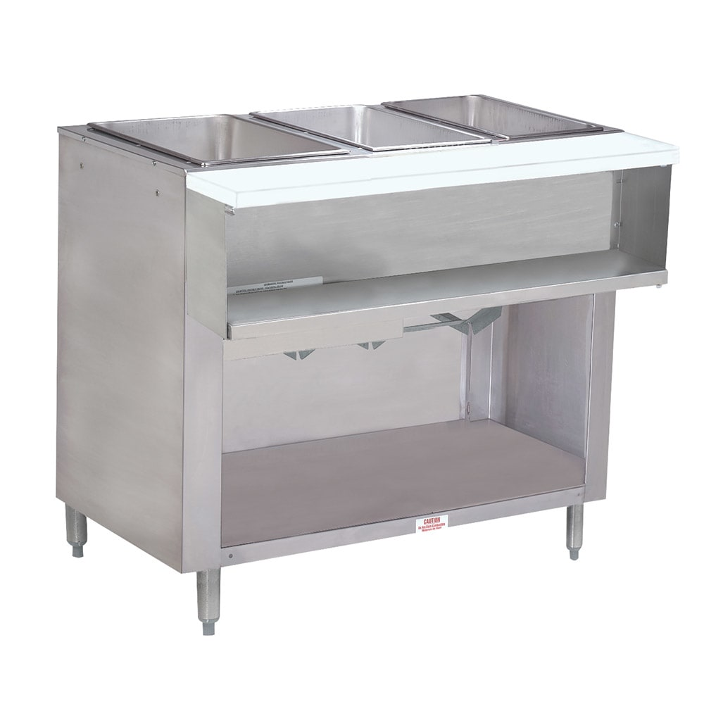 "Advance Tabco WB-3G-LP-BS Water Bath Hot Food Table, 47 1/8"", Cabinet Base w/ Open Undershelf, LP"
