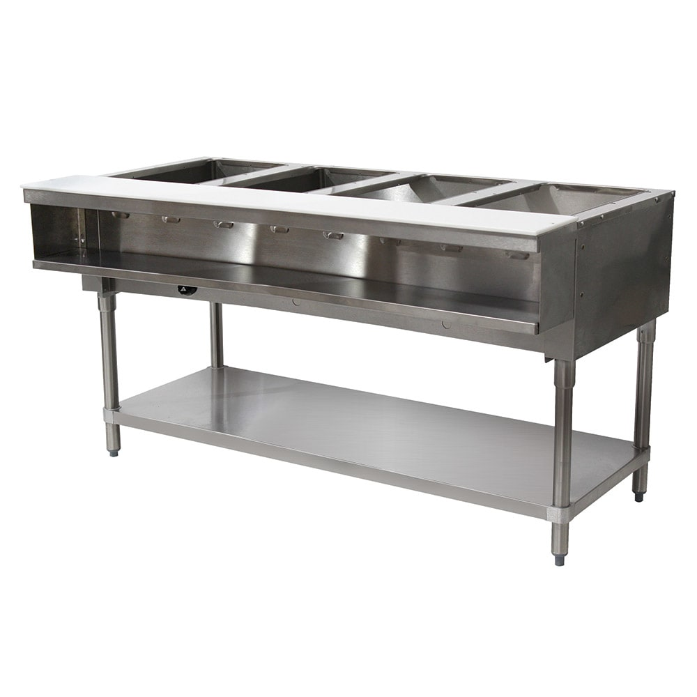 "Advance Tabco WB-4G-LP Water Bath Hot Food Table, 62 3/8"", Open Base w/ Undershelf, LP"