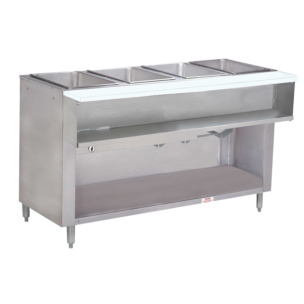 "Advance Tabco WB-4G-LP-BS Water Bath Hot Food Table, 62-3/8"", Cabinet Base w/ Open Undershelf, LP"