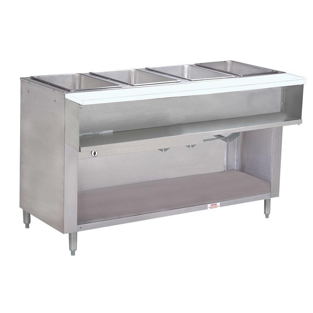 """Advance Tabco WB-4G-NAT-BS 62.4"""" Water Bath Hot Food Table w/ 4 Opening, Open Base, NG"""