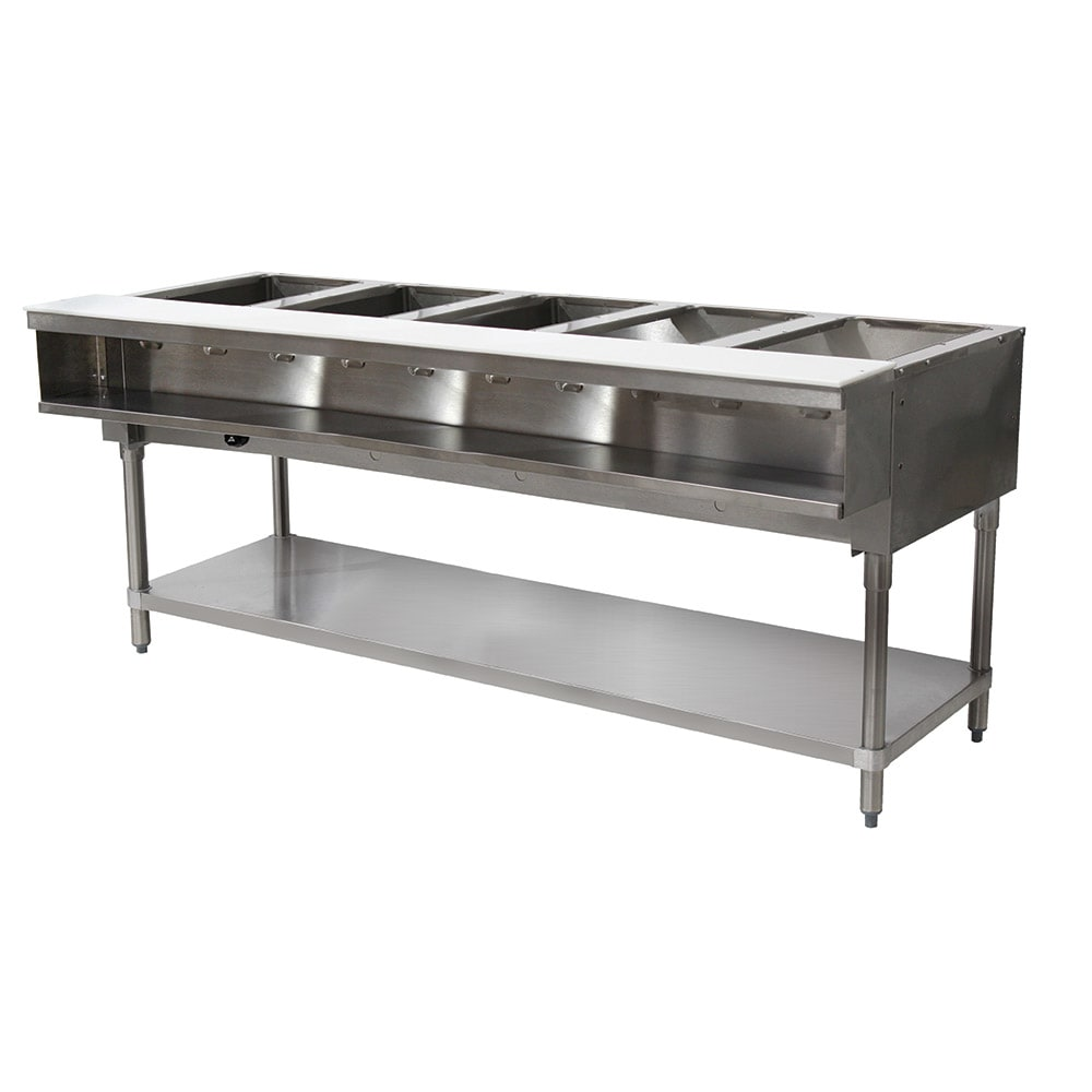 "Advance Tabco WB-5G-NAT Water Bath Hot Food Table, 77 9/12"", Open Base w/ Undershelf, NG"