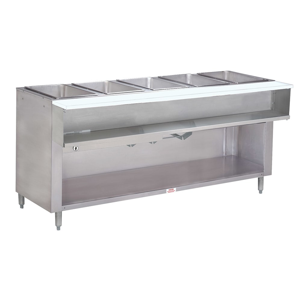"Advance Tabco WB-5G-NAT-BS Water Bath Hot Food Table, 77 9/12"", Cabinet Base w/ Open Undershelf, NG"
