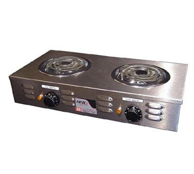 "APW CP-2A 24.75"" Electric Hotplate w/ (2) Burners & Infinite Control, 120v"