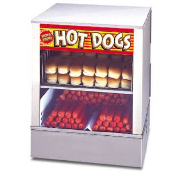 APW DS-1A 240 Hot Dog Steamer and Bun Warmer, 150 Franks, 60 Buns, Rear Door, 240 V