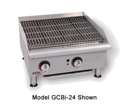 "APW GCB-36I 36"" Countertop Radiant Charbroiler - Cast Iron Grate, 120,000-BTU, NG"