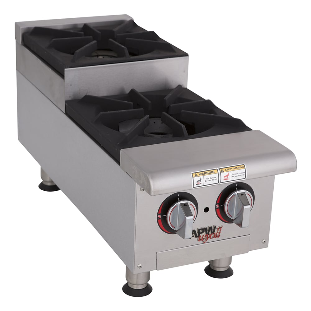 "APW GHPS-2I 12"" Gas Hotplate w/ (2) Burners & Manual Controls, NG"