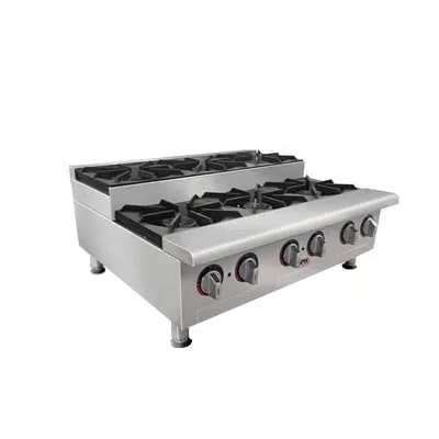 "APW GHPS-6I 36"" Gas Hotplate w/ (6) Burners & Manual Controls, NG"