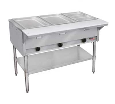 APW GST-2S-LP 2-Well Steam Table w/ Stainless Liner, Legs & Undershelf, LP