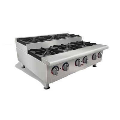 """APW HHPS-636I 36"""" Gas Hotplate w/ (6) Burners & Manual Controls, LP"""