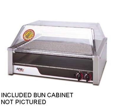 APW HR-50SBC 50 Hot Dog Roller Grill w/Bun Storage - Slanted Top, 240v