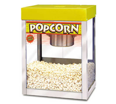 APW PC-1A 8-10 oz Kettle Popcorn Popper, Stainless, Yellow Enamel Top, 120 V