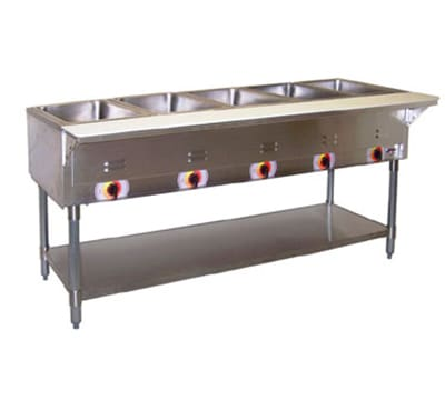 APW PSST-5S Portable Hot 5 Well Steam Table, Sealed Well, Stainless Legs
