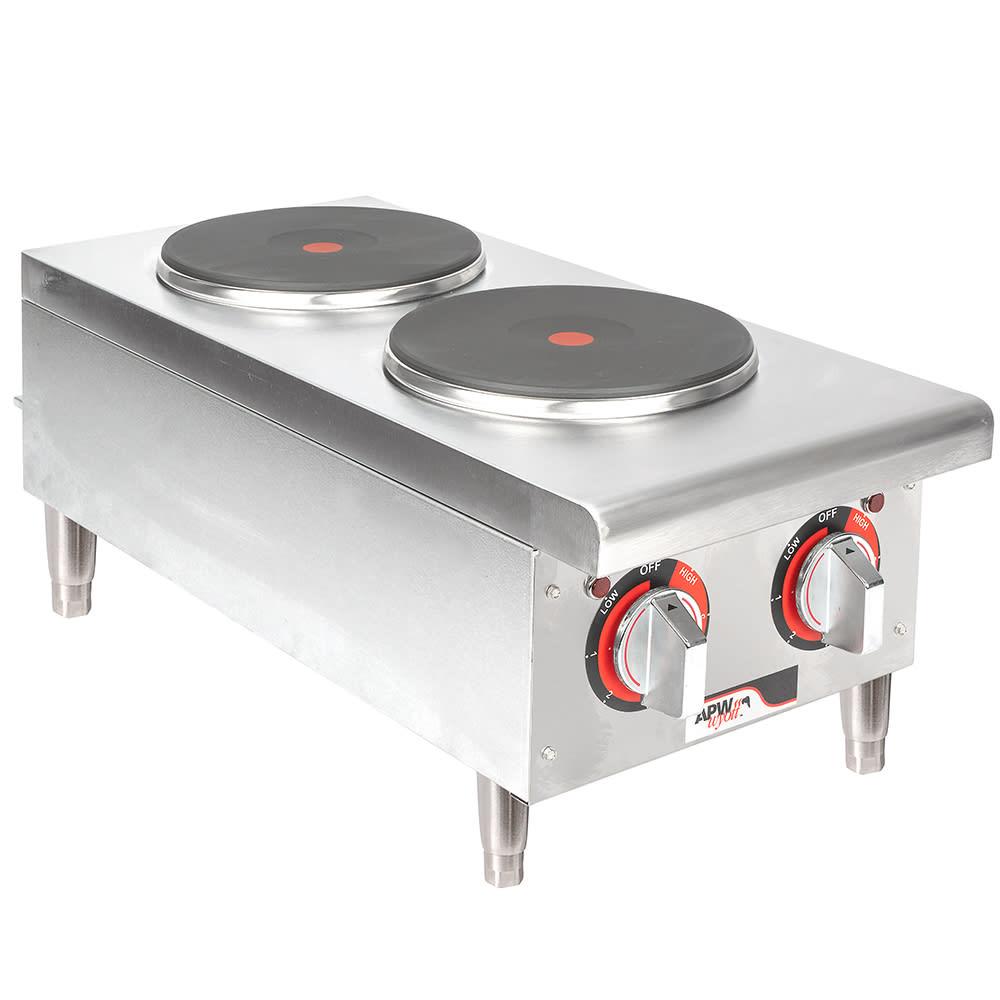 """APW SEHPI 14"""" Electric Hotplate w/ (2) Burners & Infinite Controls, 208v/1ph"""