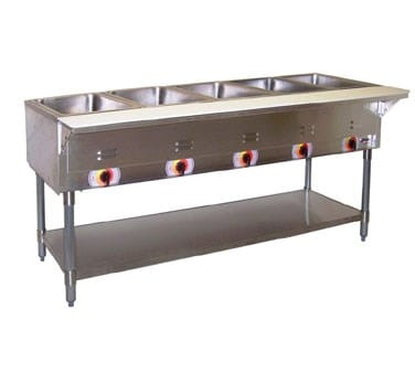 APW SST-3 Stationary Steam Table w/ 3 Sealed Wells, Coated Steel Legs, 120v