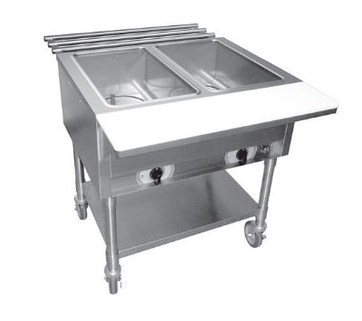 APW ST2S Stationary Steam Table w/ 2 Exposed Wells & Stainless Legs, 120 V