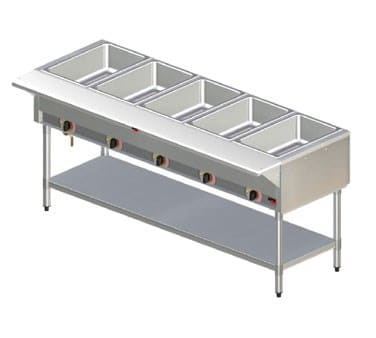 APW ST-3 Stationary Steam Table w/ 3 Exposed Wells, Poly Cutting Board, 208v/1ph