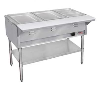 APW WGST-2S-LP 2-Well Steam Table w/ Wet Bath, Stainless Liner, Legs & Undershelf, LP