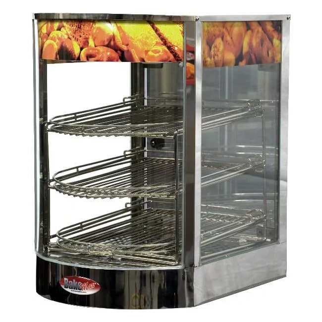 "Bakemax BMCDF01 14"" Self-Service Countertop Heated Display Case - (3) Shelves, 110v"