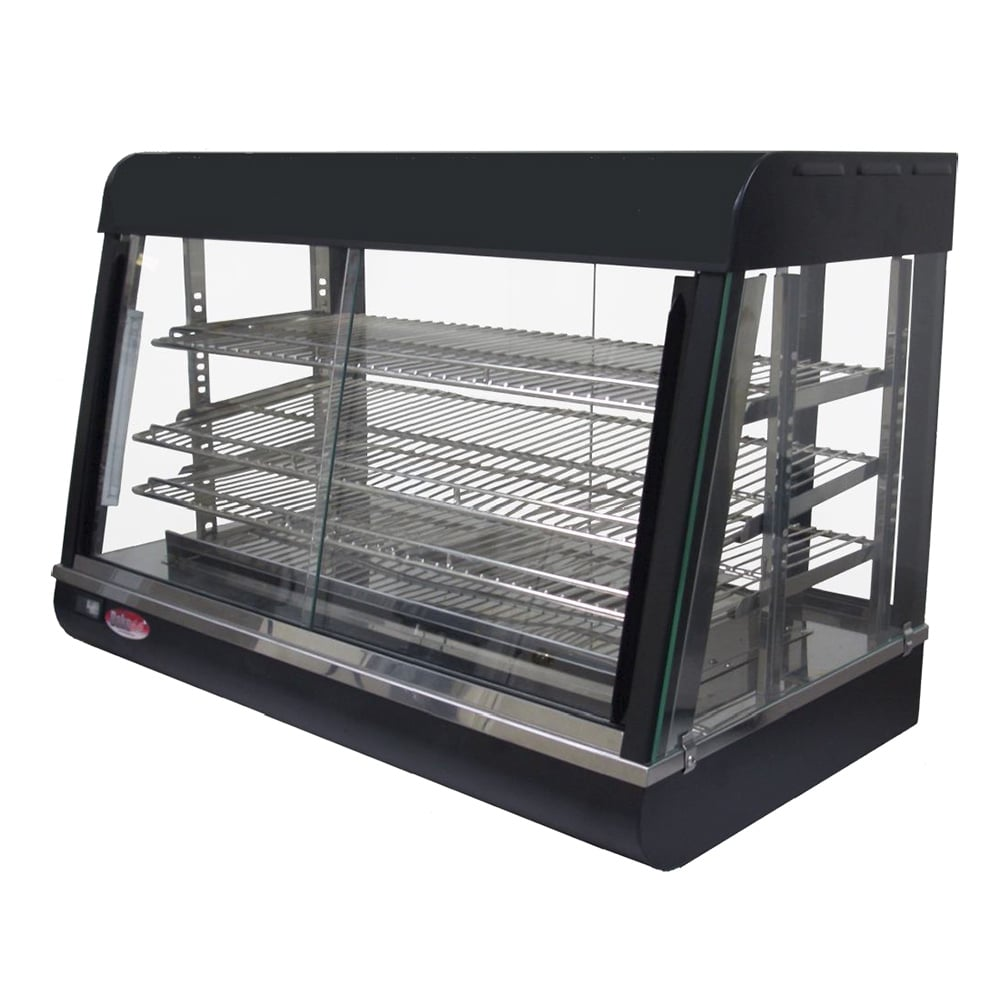 """Bakemax BMCSC01 26"""" Self-Service Countertop Heated Display Case w/ Straight Glass - (3) Shelves, 110v"""