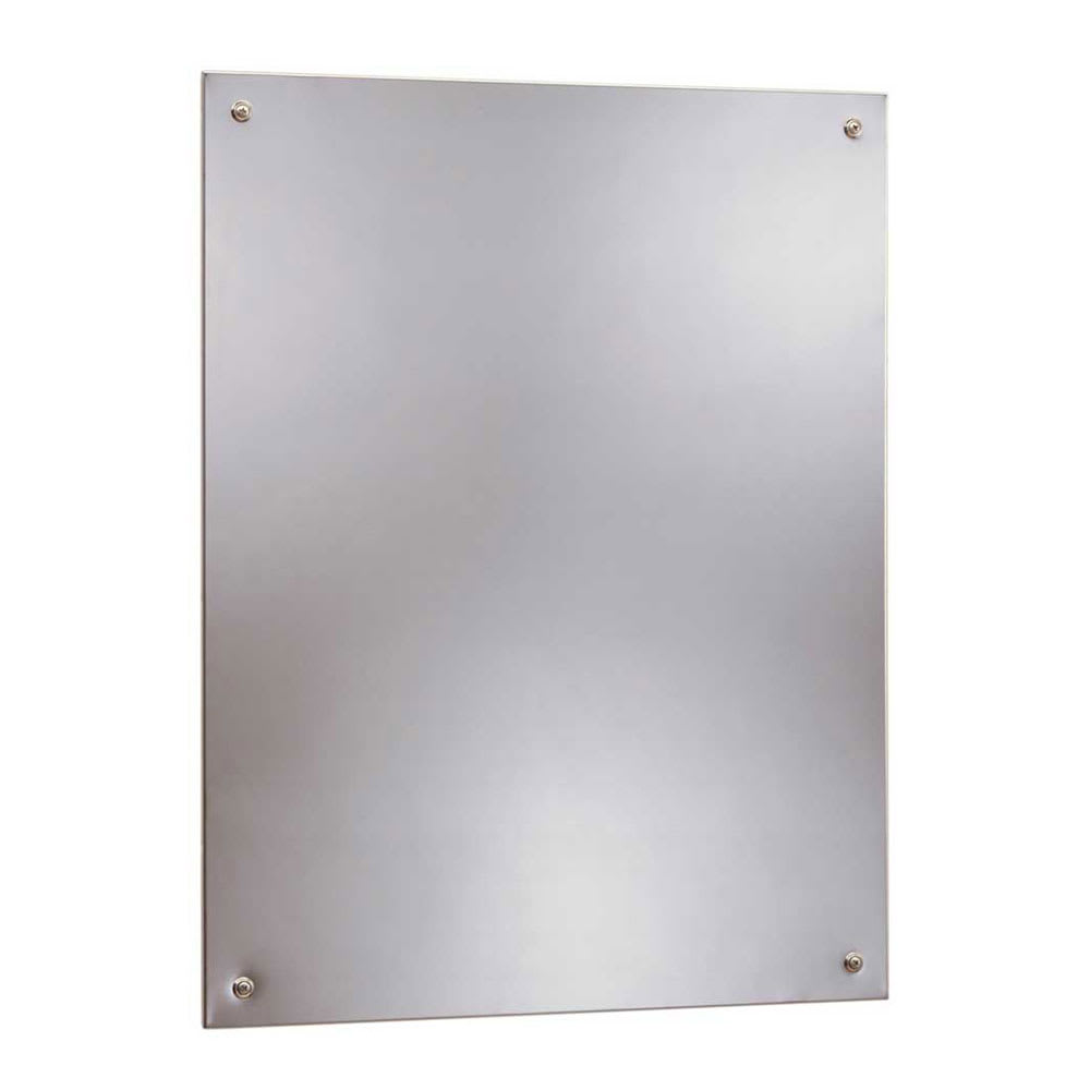 "Bobrick B15562436 B-1556 Series Frameless Stainless Steel Mirror, 24"" X 36"""