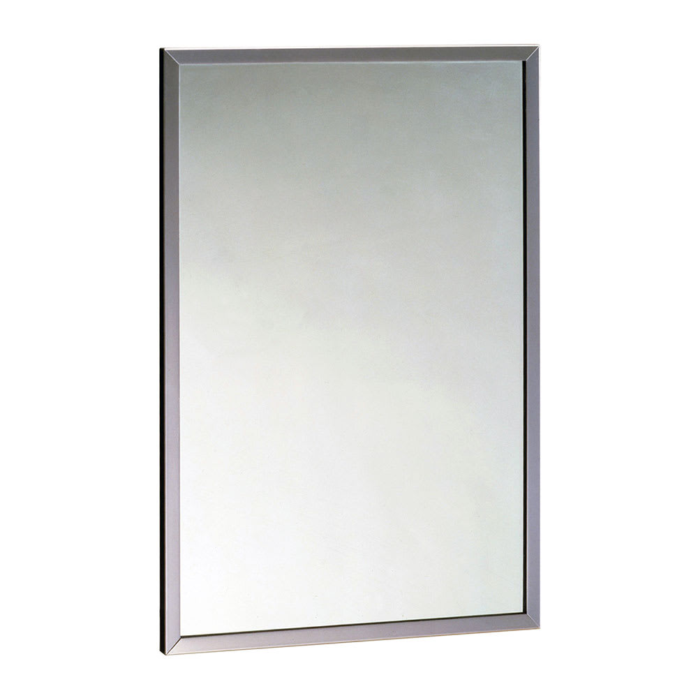 "Bobrick B16582436 B-1658 Series Tempered Glass Channel Frame Mirror, 24"" X 36"""
