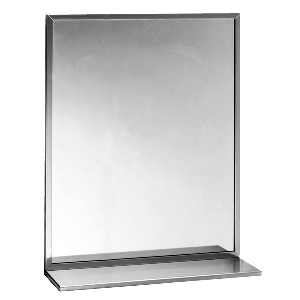 "Bobrick B1661824 B-165 Series Channel-Frame Mirror with Stainless Steel Shelf, 18"" X 24"""