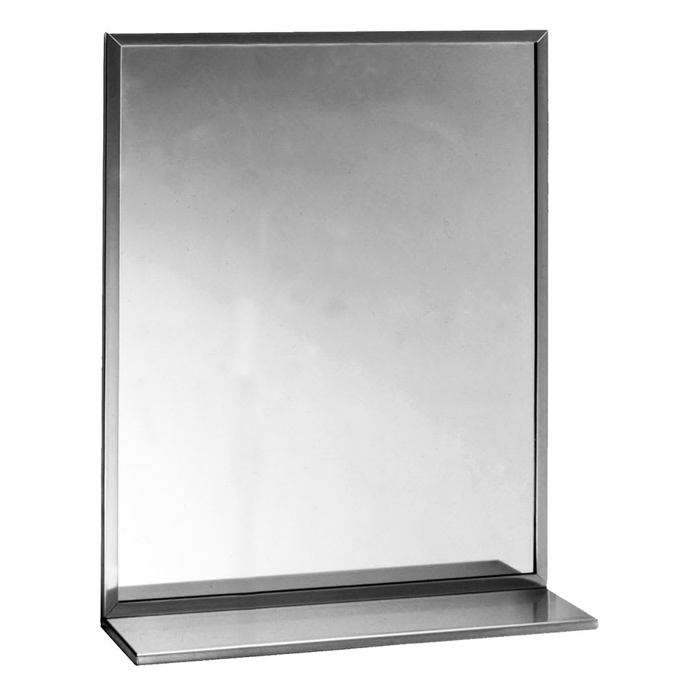 Bobrick B1661830 B 165 Series Channel Frame Mirror With Stainless Steel Shelf 18 X 30