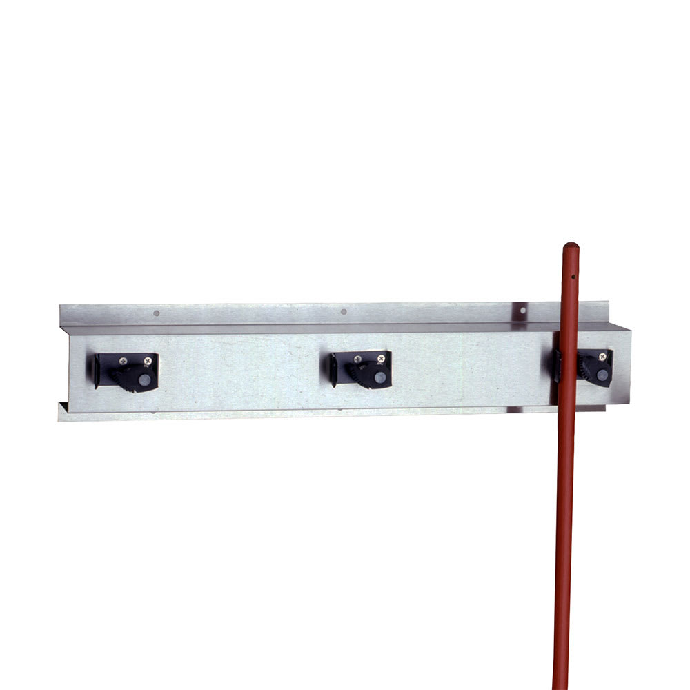 "Bobrick B-223 x 36 36""L Wall Mounted Holder w/ 4 Mop or Broom Capacity, Stainless"