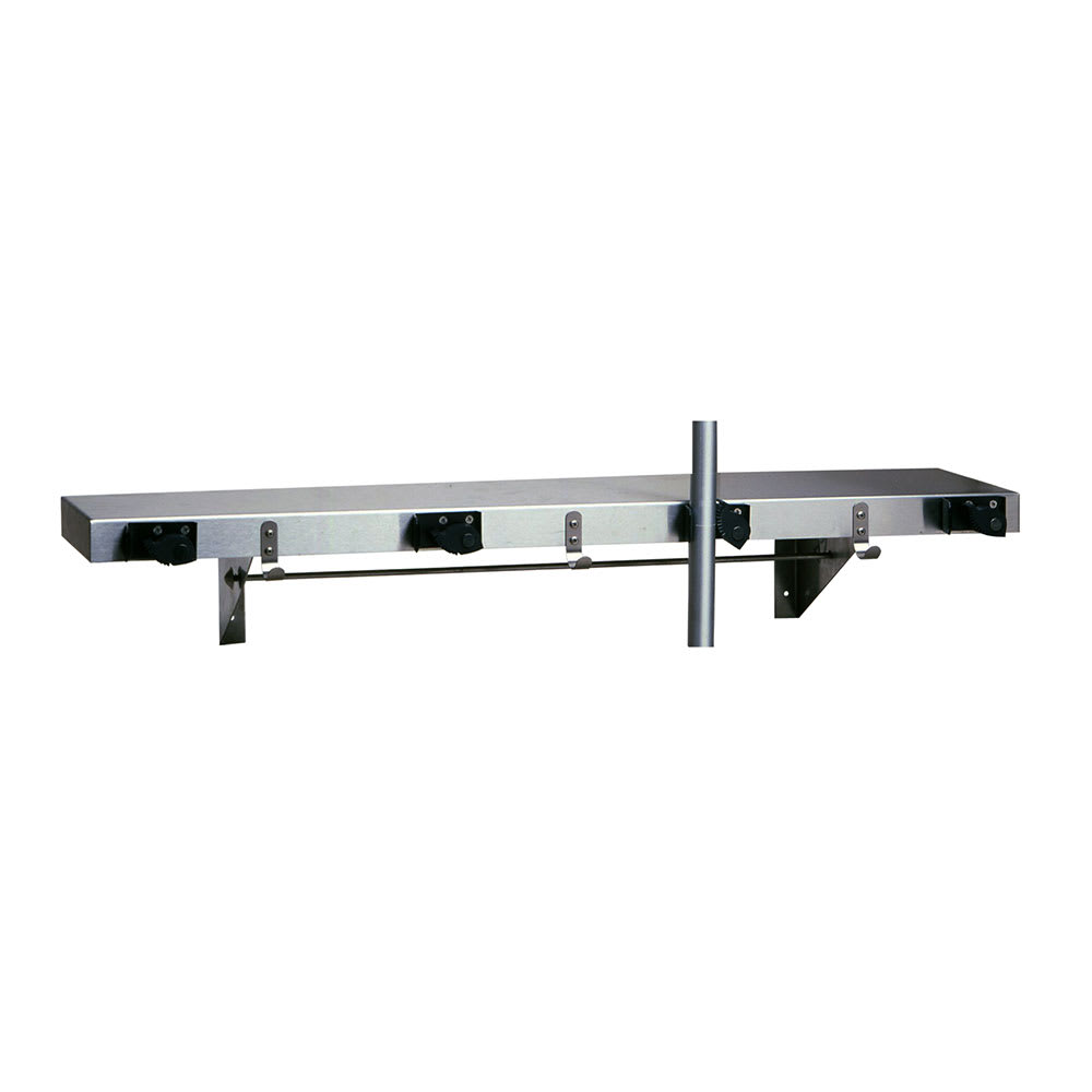 "Bobrick B-224 X 36 36""L Shelf w/ 4-Mop or Broom Capacity, Stainless"