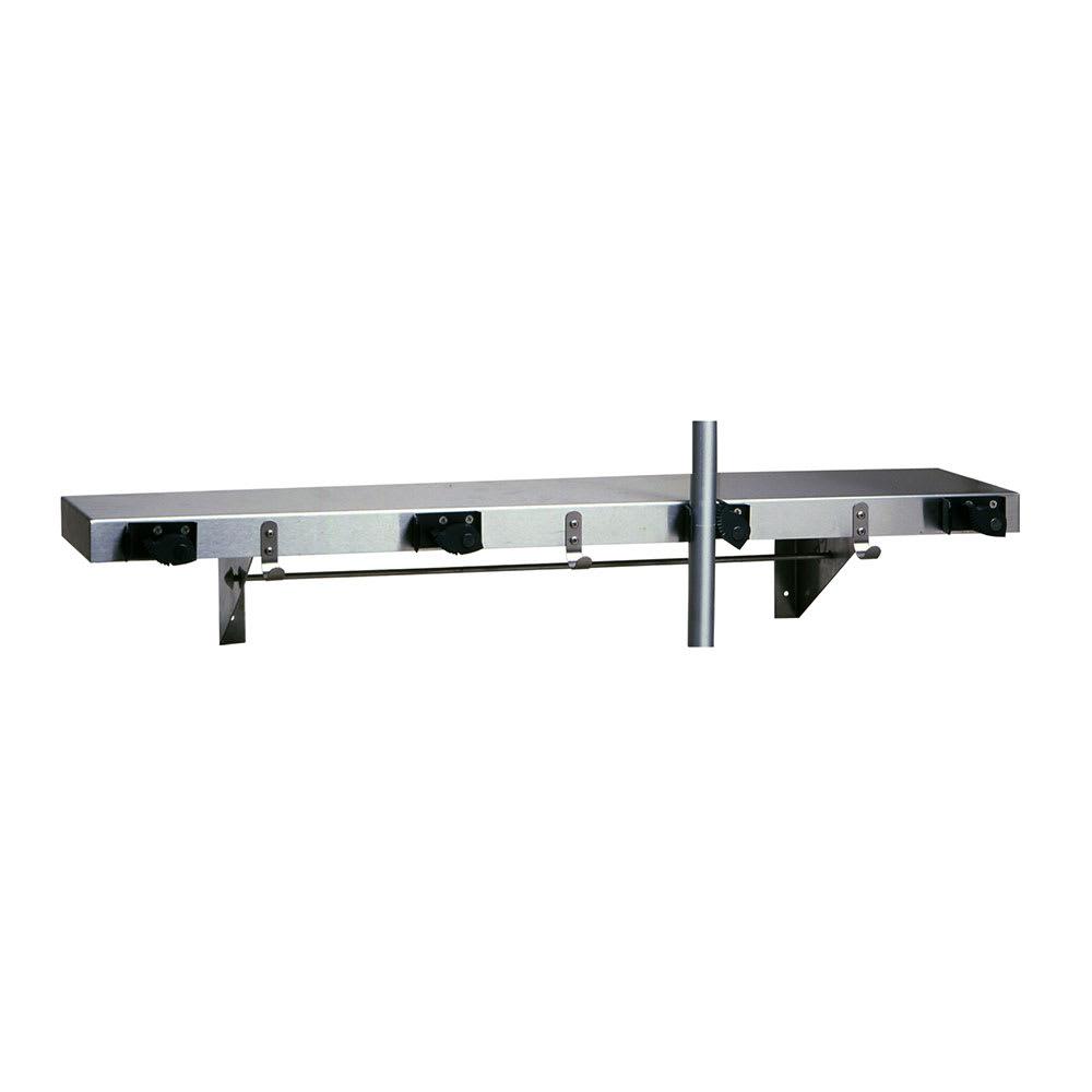 "Bobrick B-224 X 36 36""L Shelf w/ 4 Mop or Broom Capacity, Stainless"