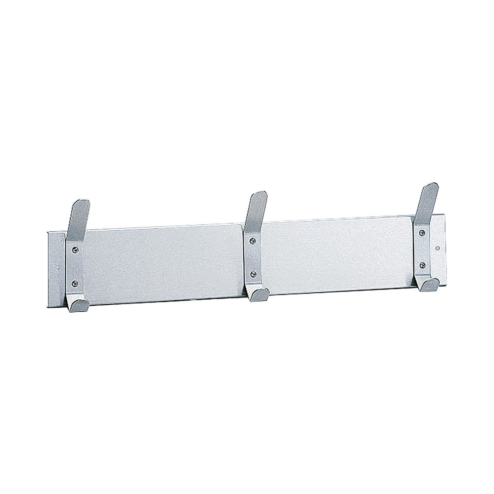"Bobrick B-232 X 24 24""L Wall Mounted Strip w/ 3 Hook Capacity, Stainless"