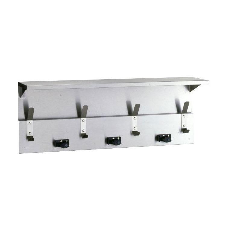 "Bobrick B-239X34 34"" Utility Shelf w/ (3) Mop Holders & (4) Hooks - Stainless Steel w/ Satin Finish"