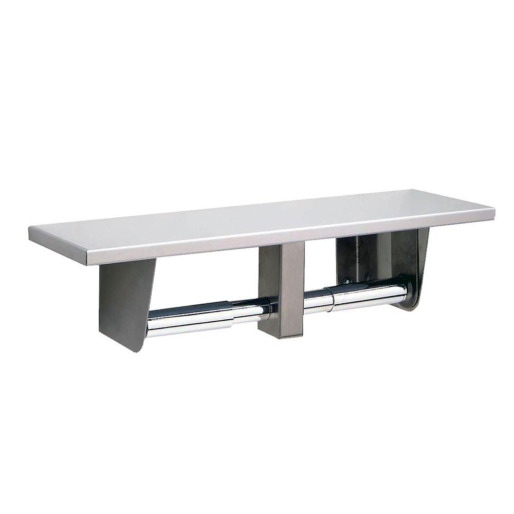 Bobrick B-2840 Toilet Tissue Dispenser w/ Utility Shelf, Stainless