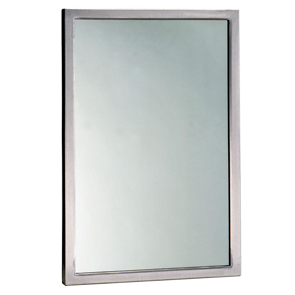"Bobrick B29081830 B-2908 Series Welded Frame Tempered Glass Mirror, 18"" X 30"""