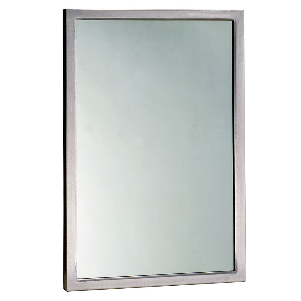 "Bobrick B29081836 B-2908 Series Welded Frame Tempered Glass Mirror, 18"" X 36"""