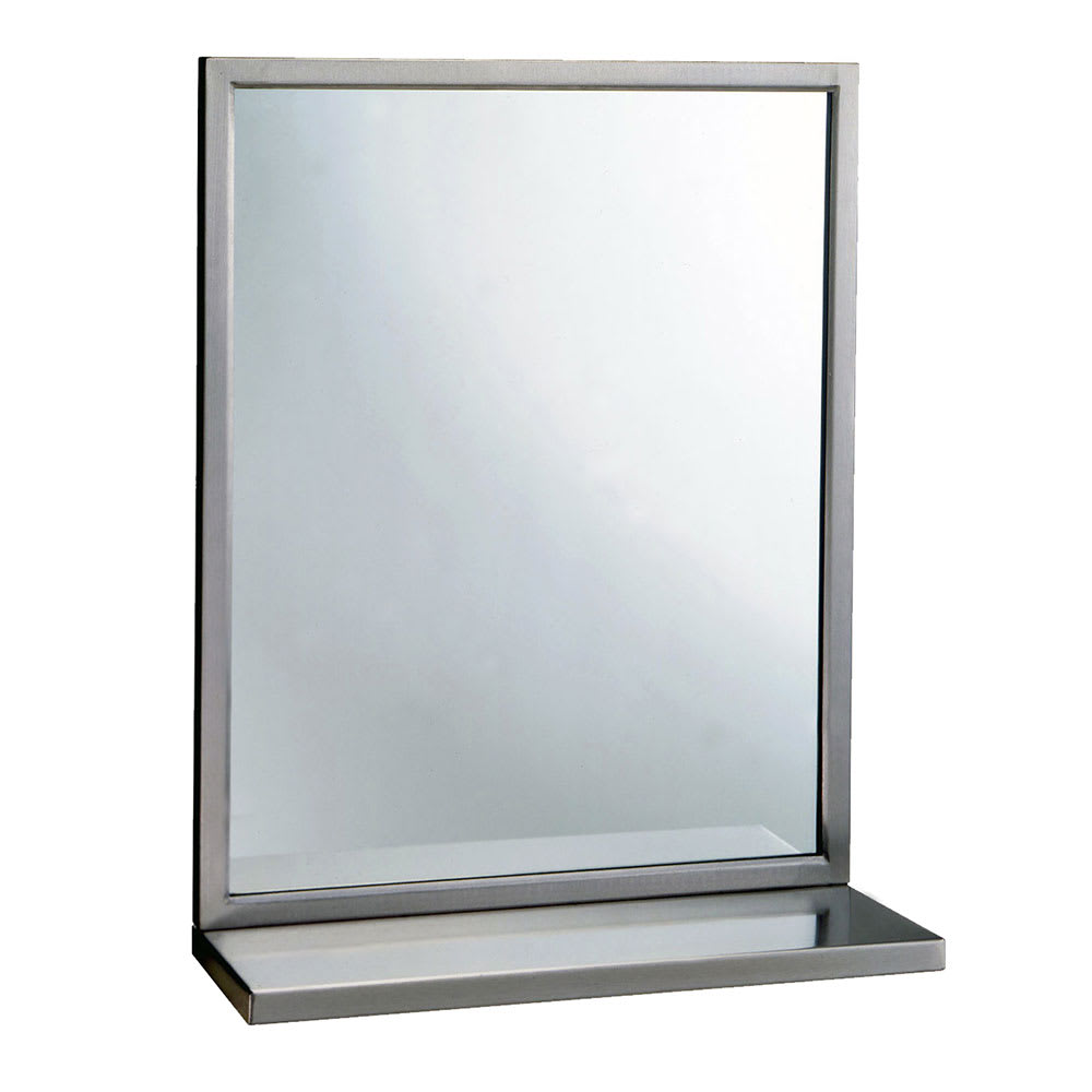 "Bobrick B2921836 B-292 Series Welded Frame Glass Mirror / Shelf Combination, 18"" X 36"""